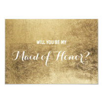 Luxury faux gold leaf Will you be my maid of honor Invitation