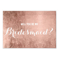 Luxury faux rose gold leaf be my Bridesmaid Invitation