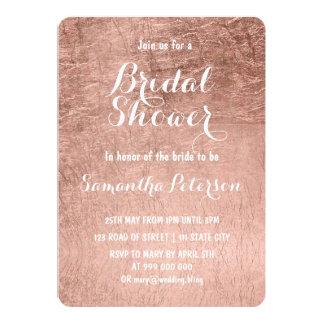 Luxury faux rose gold leaf bridal shower card