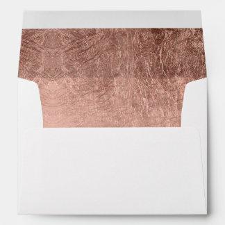 Luxury faux rose gold leaf wedding envelope