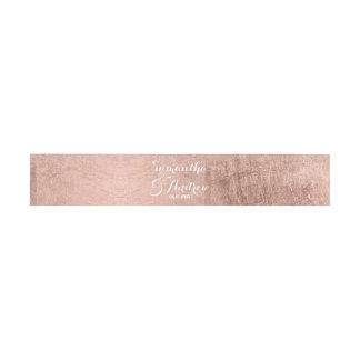 Luxury faux rose gold leaf wedding invitation belly band