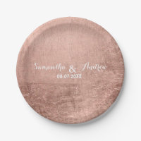 Luxury faux rose gold leaf wedding paper plate
