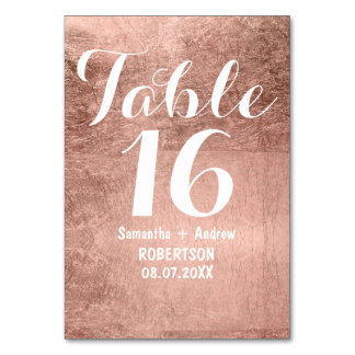 Luxury faux rose gold leaf wedding table number card