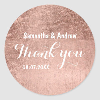Luxury faux rose gold leaf wedding Thank you Classic Round Sticker