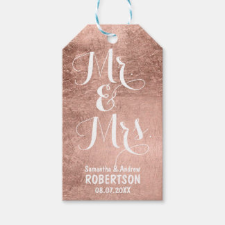 Luxury faux rose gold leaf wedding Thank you Gift Tags