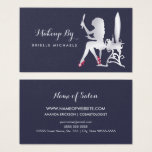 Luxury Faux Silver Woman Makeup Artist Red Shoes Business Card at Zazzle