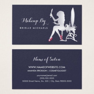 Luxury FAUX Silver Woman Makeup Artist Red Shoes Business Card