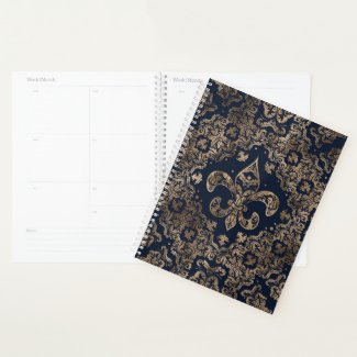 Luxury Fleur-de-lis Ornament - gold and dark blue Planner