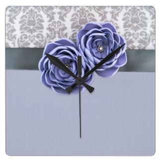 Luxury Floral Blue Ribbon Belt Clock