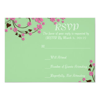 Luxury Floral Cherry Blossom Green RSVP card Announcement
