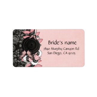 Luxury Floral Damask Butterfly Address Label
