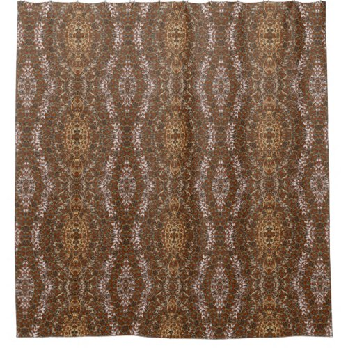 luxury floral pattern in noble golden hue shower curtain