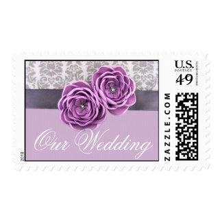 Luxury Floral Violet Ribbon Belt Stamp Postage
