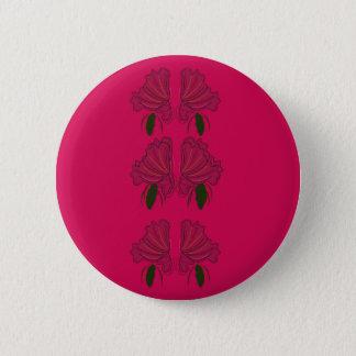 Luxury folk Flowers ethno Pink Button