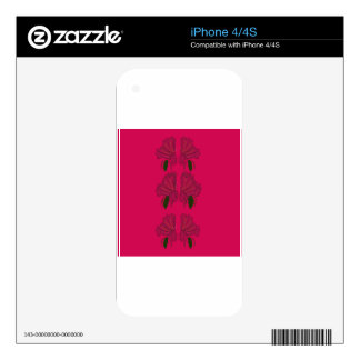 Luxury folk Flowers ethno Pink Skins For The iPhone 4S