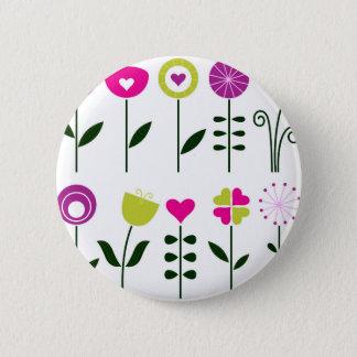Luxury folk Flowers on white Button