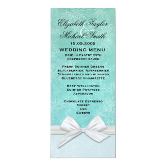 Luxury Frosty Ribbon Green Winter Menu Card