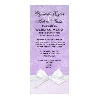 Luxury Frosty Ribbon Purple Winter Menu Card