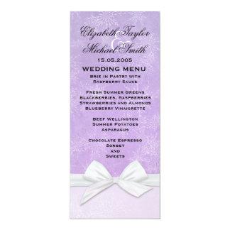 Luxury Frosty Ribbon Purple Winter Menu Custom Invite