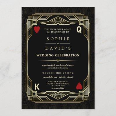 Luxury Gatsby Casino Las Vegas Poker Wedding Invitation