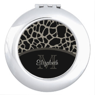 Luxury Giraffe Print Elegant Monogram and Name Mirror For Makeup