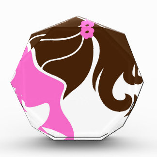 Luxury girls portrait pink brown acrylic award