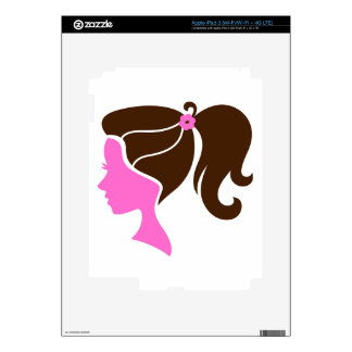 Luxury girls portrait pink brown skins for iPad 3