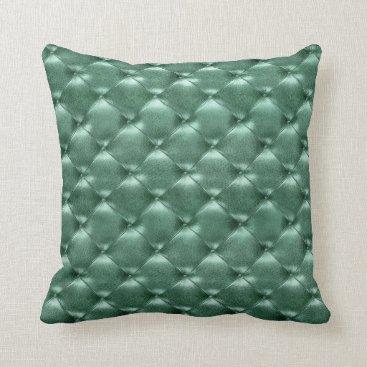 McTiffany Tiffany Aqua Luxury Glam Tufted Leather Opulent Teal Aquatic Throw Pillow