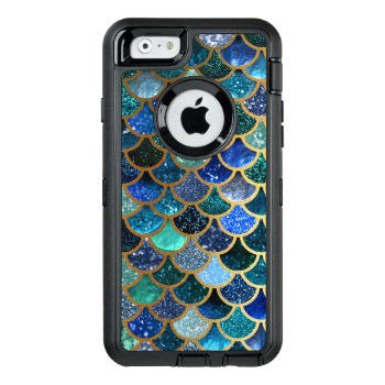 Luxury Glitter Blue Teal Mermaid Scales Otterbox Defender Iphone Case by Flowers_in_Love at Zazzle