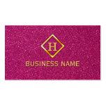 Luxury Glitter Pink Gold Monogram Business Card