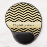"Luxury Gold and Black Chevron With Name Gel Mouse Pad<br><div class=""desc"">Add flair and fashion to your personal office with this modern and glamorous black and gold gel mousepad with a luxury style zigzag pattern. Personalize this glam office accessory for women with luxe chevrons by adding your name. Original Art copyright of &#169;Tracie Kaska</div>"