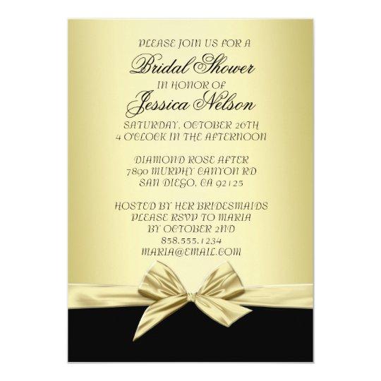Luxury Gold and Black Ribbon Bridal Invite