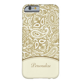 Luxury Gold and Ivory Paisley Damask With Name Barely There iPhone 6 Case