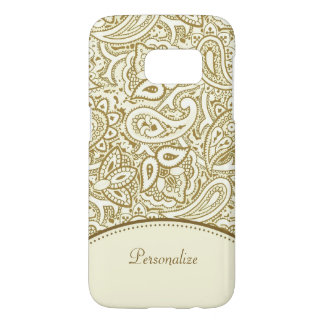 Luxury Gold and Ivory Paisley Damask With Name Samsung Galaxy S7 Case