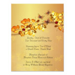 Luxury Gold Autumn Butterfly  Wedding Invitation