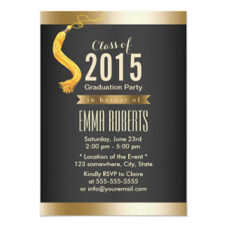 Luxury Gold Bar Class of 2015 Graduation Party 5x7 Paper Invitation Card