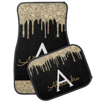 Luxury Gold Black Glitter Sparkle Monogram Car Floor Mat