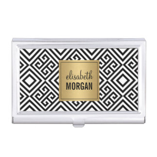 Luxury Gold Black White Abstract Geometric Pattern Case For Business Cards
