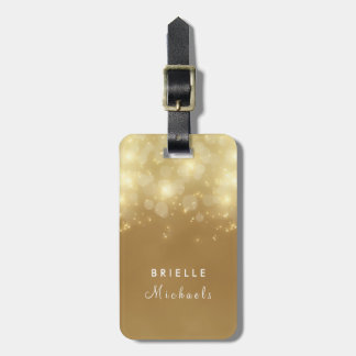 Luxury Gold Bokeh Glow Faux Glitz With Name Luggage Tag