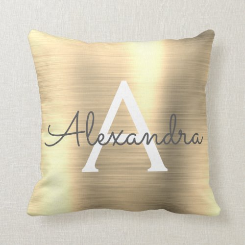 Luxury Gold Brushed Metal Monogram Name Initial Throw Pillow