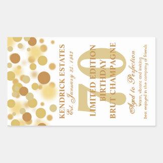Luxury Gold Champagne Bubbles Birthday Label 750ml Sticker