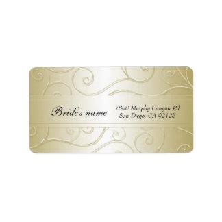 Luxury Gold Damask Swirls  Address label