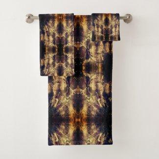 Luxury Gold Dark Abstract Bath Towel Set