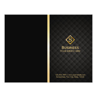 Luxury Gold Diamond Monogram Elegant Bi-Fold Flyer