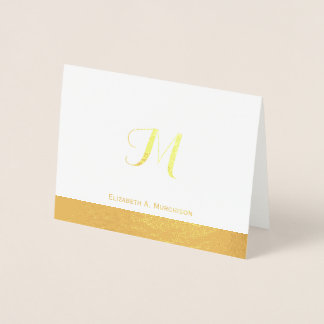 Luxury Gold Foil Monogram Note Card