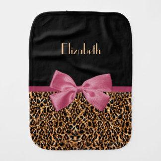 Luxury Gold Fur Leopard Print Mauve Bow Baby Name Burp Cloth