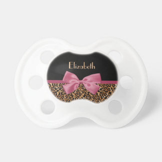 Luxury Gold Fur Leopard Print Mauve Bow Baby Name Pacifier
