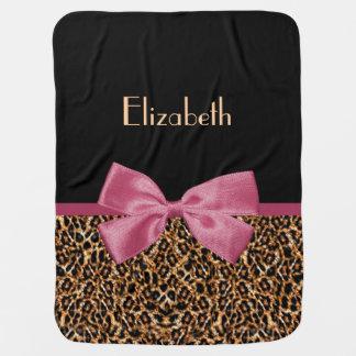 Luxury Gold Fur Leopard Print Mauve Bow Baby Name Stroller Blanket