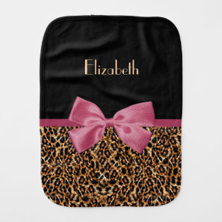 Luxury Gold Fur Leopard Print Mauve Bow Baby Name Burp Cloths