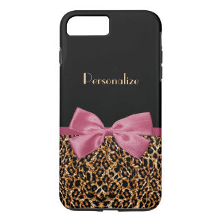 Luxury Gold Fur Leopard Print Mauve Bow With Name iPhone 7 Plus Case
